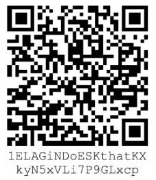 personal 14-digit wallet transfer Bitcoin 1ELAGiNDoESKthatKXkyN5xVLi7P9GLxcp